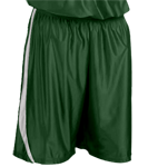 4409-Dark-Green-White-Downtown-Youth-Basketball-Shorts