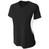 Womens-Color-Block-Performance-V-Neck-NW3223-Black-White
