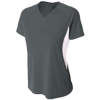 Womens-Color-Block-Performance-V-Neck-NW3223-Graphite-White
