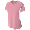 Womens-Color-Block-Performance-V-Neck-NW3223-Pink-White