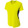 Womens-Color-Block-Performance-V-Neck-NW3223-Safety-Yellow-Black