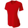 Womens-Color-Block-Performance-V-Neck-NW3223-Scarlet-White