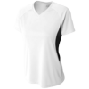 Womens-Color-Block-Performance-V-Neck-NW3223-White-Black