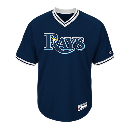 Custom Printed | Adult Tampa Bay Rays V-Neck Cool Base Jersey - CustomPlanet.com