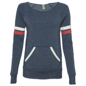 Ladies Striped Sleeve Sport Fleece Sweatshirt - 9583 9583