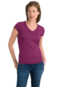 District Threads® - Junior Ladies Slub V-Neck Tee DT240