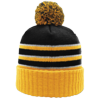 Pom-Beanie-W-Cuff-134-Black-Gold-White