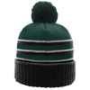 Pom-Beanie-W-Cuff-134-Dark-Green-Black-White