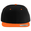 Wool-Blend-Flat-Bill-Snapback-Cap-6089M-Black-Neon-Orange