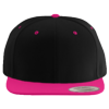 Wool-Blend-Flat-Bill-Snapback-Cap-6089M-Black-Neon-Pink