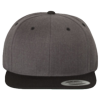 Wool-Blend-Flat-Bill-Snapback-Cap-6089M-Dark-Heather-Black