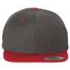 Wool-Blend-Flat-Bill-Snapback-Cap-6089M-Dark-Heather-Red