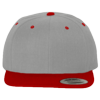 Wool-Blend-Flat-Bill-Snapback-Cap-6089M-Heather-Gray-Red