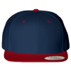Wool-Blend-Flat-Bill-Snapback-Cap-6089M-Navy-Red