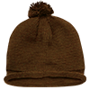 Solid_Roll_Beanies_With_PomPom_611A_Brown