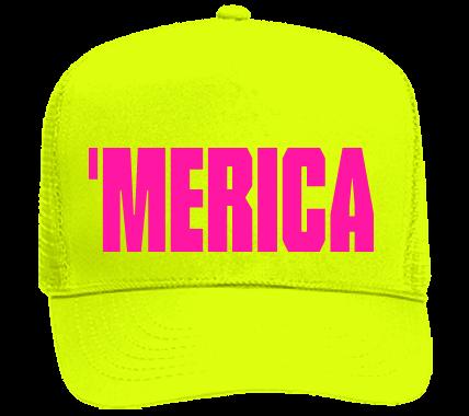 Merica Custom Heat Pressed Neon Hat Trucker Hats 117 44ea5a7804a