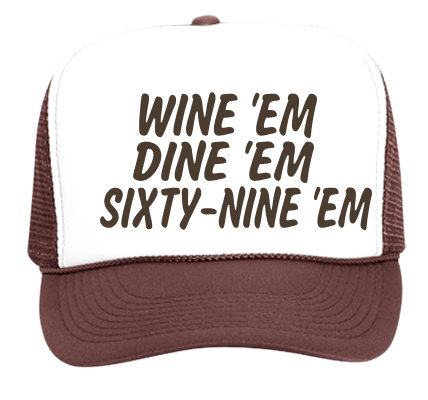 Wine em dine em sixty nine em custom heat pressed pink trucker hat 39 169 39 1692042 customplanet com