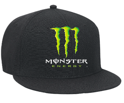 monster energy - Snapback Flat Bill Hat - 125-978 - 125-9782048 - Custom Heat Pressed ...