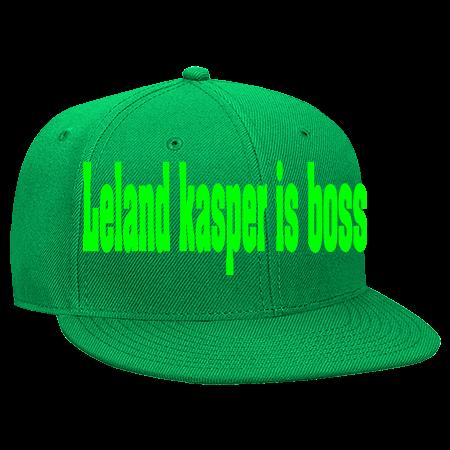3baa576e9 LELAND KASPER IS BOSS - Snapback Flat Bill Hat - 125-978 - 125-9782044 -  Custom Heat Pressed