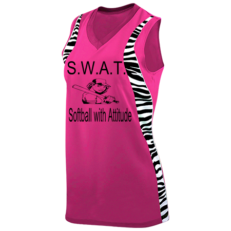 S W A T Softball With Attitude 5 Girls Racerback
