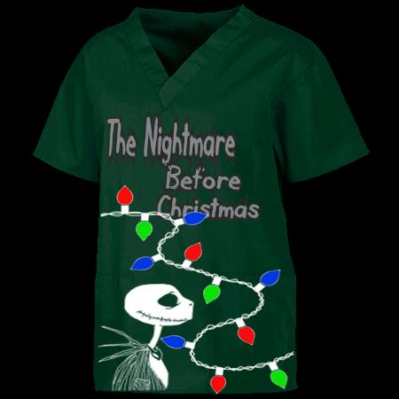 the nightmare before christmas before christmas custom v neck scrubs tunic 221c 221c2041 custom heat pressed customplanetcom