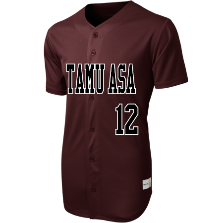 size 40 a40ef bd6ec TAMU ASA - Custom Heat Pressed Full Button Baseball Jersey - ST220 -  ST2202033