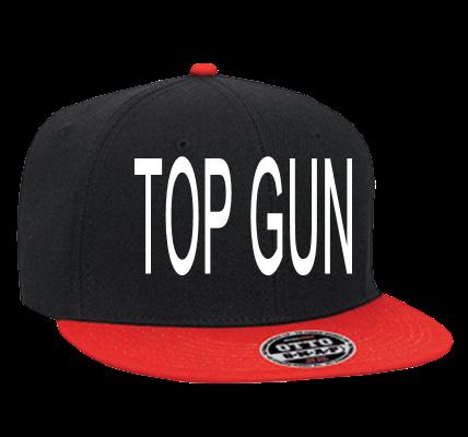 Top Gun Custom Heat Pressed Snapback Flat Bill Hat 125