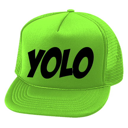 b22e5d982 YOLO - Custom Heat Pressed Neon Trucker Hat Otto Cap 55-133