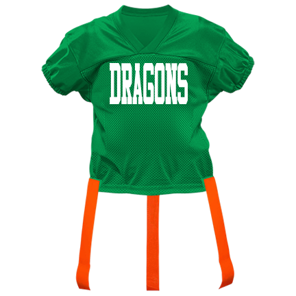 new style ca3b4 edbc5 DRAGONS - Custom Heat Pressed Youth Official Flag Football Jersey - 1368