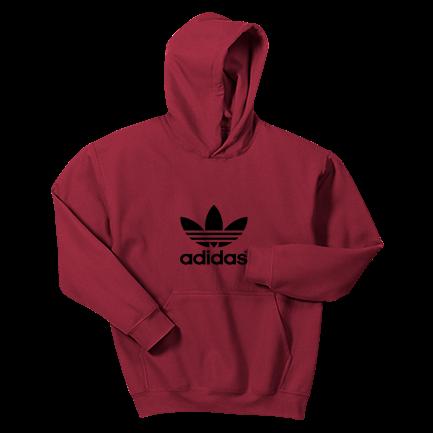 big discount brand new classic red adidas hoodie - Custom Heat Pressed Gildan Youth Hooded Sweatshirt  18500B Youth Small
