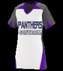 panthers panthers softball Girls V-Neck Three Toned Softball Jersey