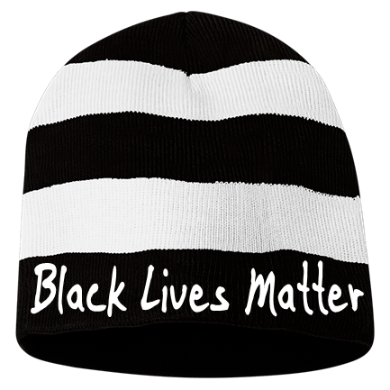 Black Lives Matter Custom Embroidered Striped Bumble Bee Beanie 82 1053