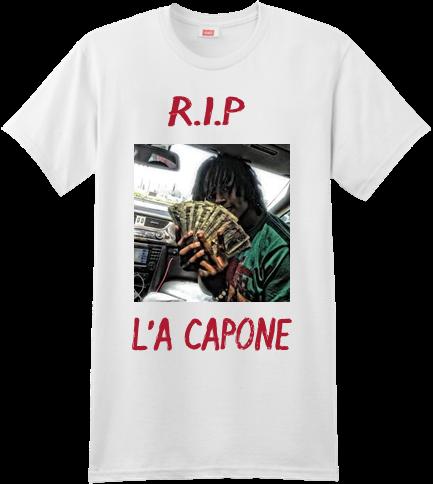 62e67f6dd R.I.P L'A CAPONE - Custom Heat Pressed Custom Screen Printed Hanes T-Shirt  - 4980 S 009105EC2E58A