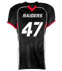 RAIDERS JERSEY - WHITE ON BLACK JUNIOR - Custom Screen Printed Youth Tackle Football Jerseys - 1303 231FD7ABE4A9