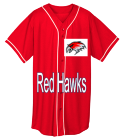Red Hawks - Custom Embroidered Adult Full Button Wicking Mesh Jersey  - 593 65BE45C2C971