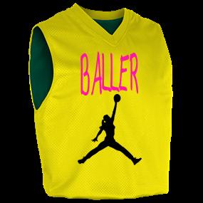 56189454d6d5 Baller - Custom Screen Printed Womens Fadeaway Reversible Basketball Jersey  - 1481 S 772254F51A5CA