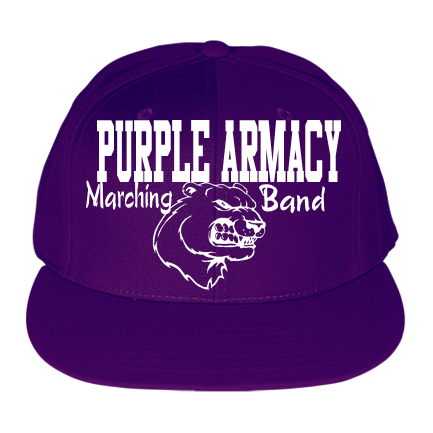 Purple Armacy -Marching -Band - Custom Heat Pressed Micro Mesh Fitted Cap -  PTS45