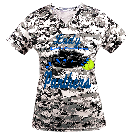 brand new 1b540 12a0e Lady Panthers - Custom Heat Pressed Digital Camouflage Ladies V-Neck Badger  Jersey