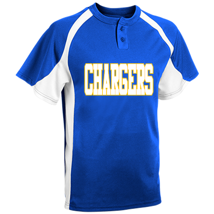 a29d0035 CHARGERS - Custom Heat Pressed Youth Line Drive 2-Button Baseball Jersey -  1200P