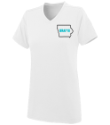 Plain White with both logos - Custom Heat Pressed Ladies V-Neck Wicking Jersey  - 1072 51AEC38B30A2