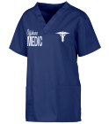 Offshore-MEDIC-OFFSHORE MEDIC-Keeping the beat-of the pulse of the fleet! - Custom Heat Pressed Custom V-Neck Scrubs Tunic - 221C DEF190BB2D97