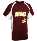 Jaghawks-32 - Custom Screen Printed Youth Line Drive 2-Button Baseball Jersey - 1200P B2FC33C650A4